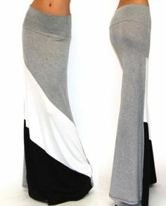 Heather Gray Color Blocked Flare Minimal Fit Jersey Foldover Waist Maxi Skirt XL | eBay