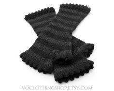 hand knit + striped + fingerless gloves