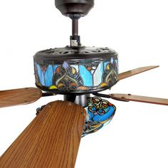 Meyda tiffany 1 light mahogany bronze ceiling fan light kit with fans with stained glass details about stained glass ceiling fan mozeypictures Gallery
