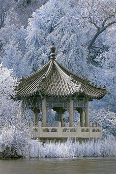 Winter fantasy, Japanese style gazebo