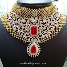 Huge Bridal Diamond Choker with red stones