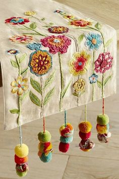 Bright Flowers with Pompoms Table Runner, kitchen design, kitchen decorration, home design, affiliate link