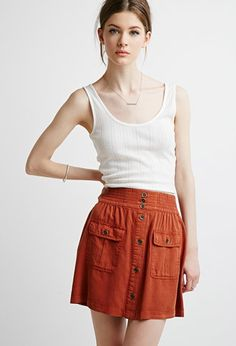 Contemporary Button-Front Pocket Skirt | LOVE21 - 2000130526 X-Small or Small