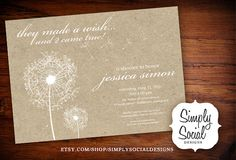 Craft Paper Twins Dandelion Baby Shower by SimplySocialDesigns, $18.00