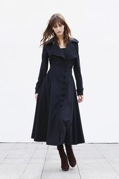 Navy Blue Cashmere Coat Big Sweep Women Wool Winter Coat Long Jacket Tunic / Fast Shipping - NC418. $179.99, via Etsy.