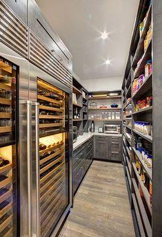 Kitchen Pantry Design, Kitchen Organization Pantry, Luxury Kitchen Design, Prep Kitchen, Dream Home Design, Home Decor Kitchen, Kitchen Interior, Home Interior Design, 1950s Kitchen