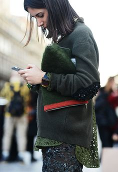 Shades of green #PFW #StreetStyle