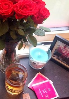 tea, flowers and candles.