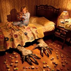 Horror photographer Joshua Hoffine adds a creepy twist to his work — by using his four daughters and wife as the models for his terrifying images. Arte Horror, Horror Art, Horror Movies, Real Horror, Comedy Movies, Joshua Hoffine, Childhood Fears, Childhood Memories, Horror Photography