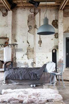 me and Alice: friday night inspiration Soft grey linen bedding rough industrial walls bedroom