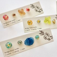 Book Works, Resin Jewelry, Place Cards, Place Card Holders, Packaging, Clay, Stud Earrings, Handmade, Clays