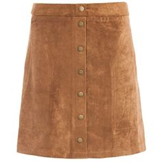 Sans Souci Vegan suede button front a-line skirt ($29) ❤ liked on Polyvore featuring skirts, camel, brown faux leather skirt, camel a line skirt, embellished skirts, brown skirt and button front a line skirt