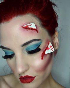 - Makeup Looks Dramatic Sfx Makeup, Costume Makeup, Makeup Art, Beauty Makeup, Cool Halloween Makeup, Halloween Kostüm, Queen Of Hearts Halloween, Queen Of Hearts Costume, Helloween Make Up