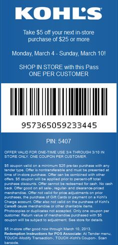 $5 off $25 at Kohls coupon via The Coupons App