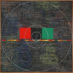 Red, Black, Green (1980) Acrylic on canvas 64h x 64w in (162.56h x 162.56w cm)