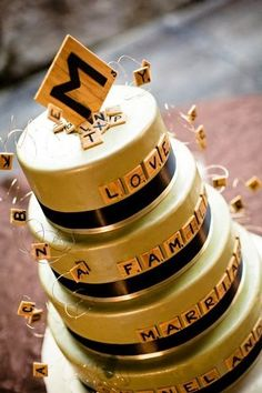I hate it when my calorie count is higher than my word score. Wedding or celebration cake for Scrabble lovers.