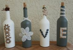 Painted wine bottles, home decor, shabby chic, custom made   Check out this item in my Etsy shop https://www.etsy.com/listing/267150722/white-and-grey-hand-crafted-shabby-chic