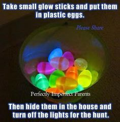 mini glow sticks + easter eggs + no lights = SUPER FUN egg hunt!small glow sticks inside an Easter egg for a nighttime egg hunt! Easter Crafts, Holiday Crafts, Holiday Fun, Easter Decor, Holiday Ideas, Bunny Crafts, Holiday Parties, Festive, Ghost Crafts