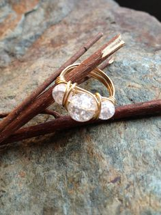 Crackled Marble Three Stone Wire Wrapped Ring by CopperRoadJewelry, $12.00