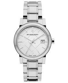 Burberry Watch, Women's Swiss Stainless Steel Bracelet 34mm BU9100 - Burberry - Jewelry Watches - Macy's