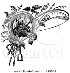 http://images.clipartof.com/small/1118543-Clipart-Of-A-Retro-Vintage-Black-And-White-Horse-Head-With-A-Shoe-Whip-And-Plants-Royalty-Free-Vector-Illustration.jpg