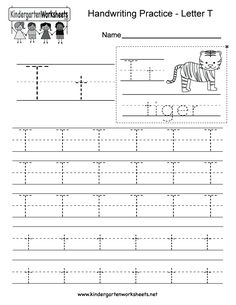 Letter T Writing Practice Worksheet - Free Kindergarten English Worksheet for Kids Letter T Worksheets, Letter T Activities, English Worksheets For Kindergarten, Handwriting Practice Worksheets, Kindergarten Writing, Kindergarten Worksheets, Letra Script, Printing Practice, Alphabet Writing