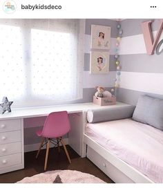 cute and girly bedroom decorating tips for girl 59 Small Room Bedroom, Kids Bedroom, Girl Bedrooms, Bedroom Ideas, Modern Teen Bedrooms, Teenage Bedrooms, Room Kids, Small Rooms, Kids Rooms
