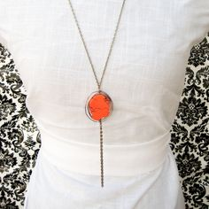 Lunett Necklace Tangerine jewelry, brass, tangerine