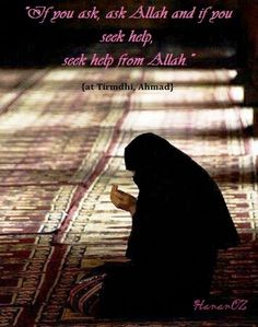 """""""If you ask, ask Allah and if you seek help, seek help from Allah."""" {at Tirmdhi, Ahmad}"""