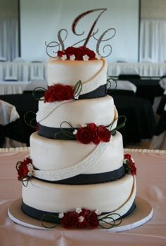 4 Tier wedding cake with sugar roses