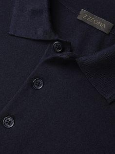 Polo bleu/gris en tricot de Mérinos FW16 9907753 | Zegna