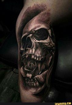 tattoo, skull, skeleton, rose, mouth