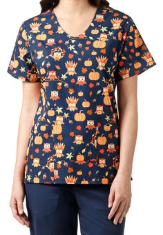 Zoe + Chloe Harvest Friends v-neck print scrub top. Main Image