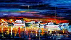 Leonid Afremov Yacht Club Night oil painting reproductions for sale
