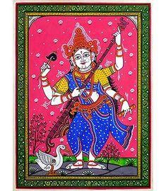 Goddess Saraswati - Patta Painting on Silk Saraswati Photo, Saraswati Mata, Saraswati Goddess, Hanuman Images, Lord Shiva Hd Images, Indian Traditional Paintings, Indian Art Paintings, Ganesh Lord, Indian Goddess