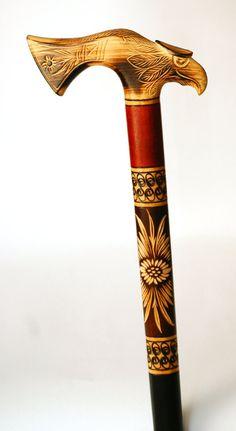 Águila de madera poca caña bastón madera tallada mano manija
