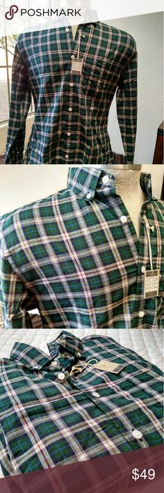 J Crew heathered cotton plaid lightweight shirt NWT plaid lightweight long sleeve shirt.  Good looking summer plaid without the heavy flannel.  Lots of minute color details within the green scheme. J. Crew Shirts Casual Button Down Shirts