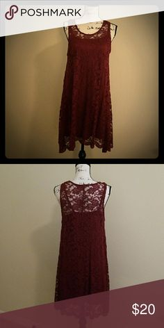 59ae086ddbef3e Super cute and comfy slip dress with lace overlay Maroon slip dress with  lace overlay.