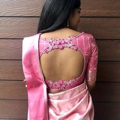 Top 30 Latest And Trendy Blouse Designs For Back Neck Here are the latest 30 blouse design for back neck that is impeccably immaculate and you can certainly opt for these or customize them as per your choice. Blouse Back Neck Designs, Simple Blouse Designs, Stylish Blouse Design, Pink Blouse Design, Pattu Saree Blouse Designs, Blouse Designs Silk, Designer Blouse Patterns, Bridal Blouse Designs, Designer Saree Blouses