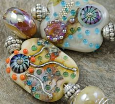 ~CC Glass Art~ SRA Handmade Lampwork Beads Set (9) Organic Oceanic ~LOW TIDE~