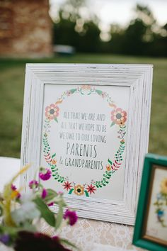 sign for parents and grandparents, photo by Brooke Courtney Photography http://ruffledblog.com/shenandoah-valley-wedding #weddingsigns #signage