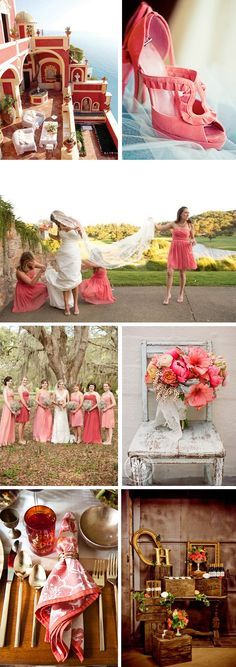 I like the bouquet.  Rich Coral Wedding Inspiration