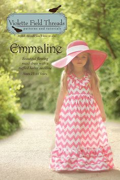 Danica LOVES this one! The EMMALINE ruffle dress by Violette Fields - Printed sewing pattern - children's sizes 2T-10
