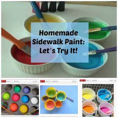 How to make homemade sidewalk paint for the kids -- great summer activity!