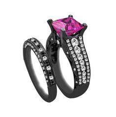 2.50ct Princess Cut Diamond & Pink Sapphire Engagement Ring 14K Gold