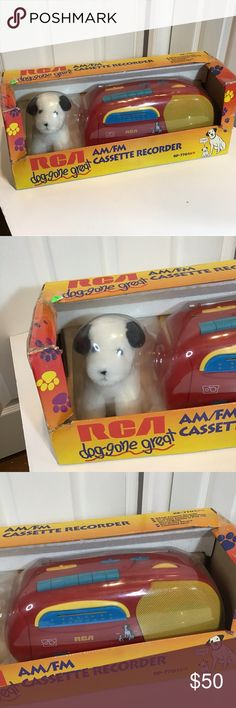 RCA Dog gone great cassette player & am/fm radio. Vintage RCA Dog Gone Great Cassette Player W Am/Fm Radio. Condition is New.   This is a vintage RCA am/fm cassette player and a RCA plush dog. This item is brand new in box However the box is a little beat up. Item has never been removed from the box. Item is from 1996. Everything old is now becoming new. Let your kiddos experience a bit of nostalgia by listening to a cassette player or for the collector get a piece of your childhood and grab hol
