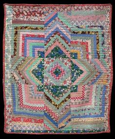 A wonderful Log Cabin Variation quilt, circa Unknown Quilt Maker, collected in Indiana, 66 x 80 inches. Offered by The Quilt Complex Pretty with liberty stash? Old Quilts, Antique Quilts, Vintage Quilts, Édredons Cabin Log, Log Cabin Quilts, Log Cabins, Patchwork Quilt, Scrappy Quilts, Star Quilts