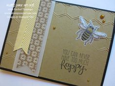 Bee & Honey card using Stampin' Up!'s new Backyard Basics stamp set, matching framelits, and new Baked Brown Sugar card stock embossed with the Honeycomb embossing folder - Stamp Your Art Out!