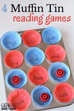 4 fun reading games that use common household items such as a muffin tin. Simple and expensive reading activities to get the kids learning!