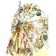 Ferris Wheel Watercolor Sketch, rainbow carnival Sketch - fine art... ($25) ❤ liked on Polyvore featuring home, home decor, wall art and watercolor wall art